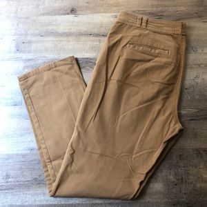 [Anthropologie] Tan Straight crop style trousers